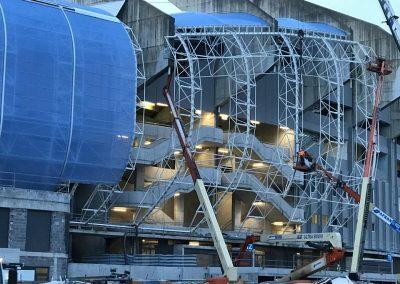 fabricación estructura metálica de la cubierta del etadio de fútbol de Anoeta